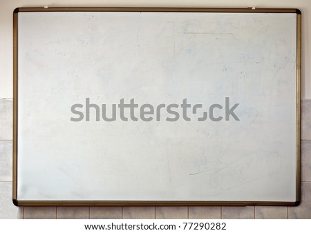 close up of an empty  white chalk board