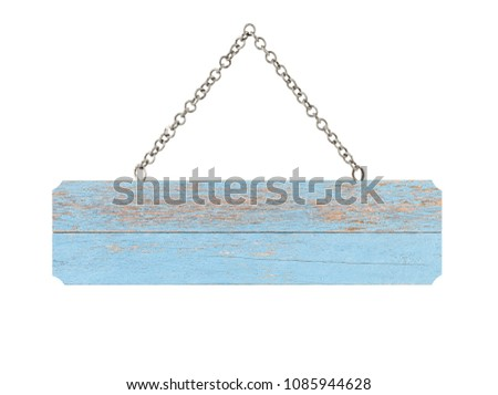 close up of an empty wooden sign on white background with clipping path