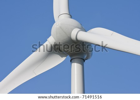 Close-up of an enormous modern windturbine - stock photo