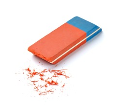 close up of  an eraser on white background with clipping path