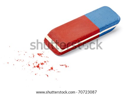 close up of an eraser on white background with clipping path #70723087