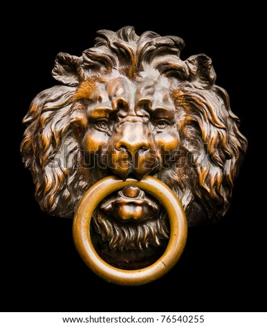 Close up of an isolated lion-shaped door knocker Stock photo ©