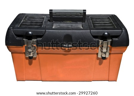 Close-up of an isolated orange and black toolbox over white.