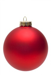 Close-up of an isolated red christmas ball or bauble.