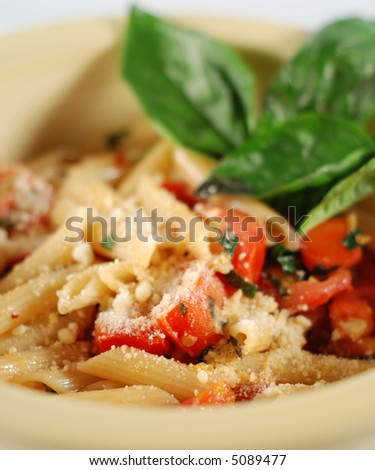close-up of an Italian dinner