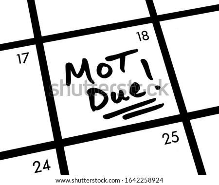Close-up of an MOT Due! calendar entry. Photo stock ©