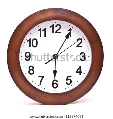 close up of an office clock on white background