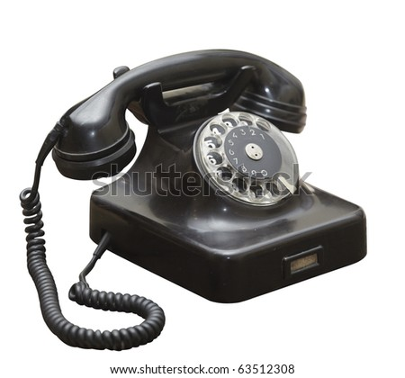 close up of  an old antique black phone on white background  with clipping path