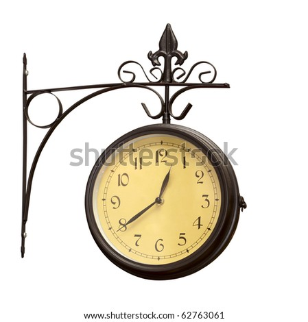 close up of an old antique clock on white background  with clipping path