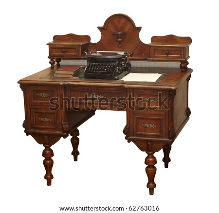 close up of  an old antique table on white background  with clipping path