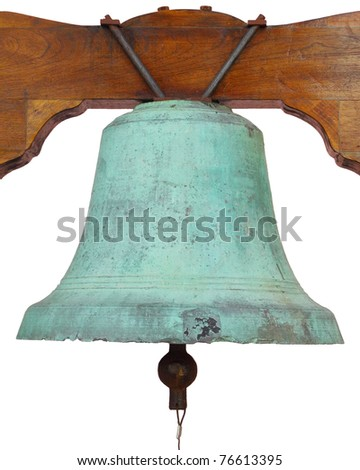 Close up of an old church bell isolated over white