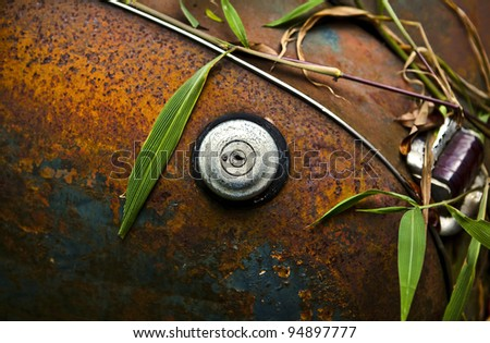 Close-up of an old grunge styled truck fuel cap