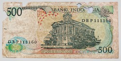 Close-up of an old Indonesian currency with a value of 500 rupiah in 1988.