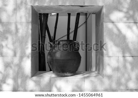 Close-up of an old large vase. Large jug. Design and interior of the hotel. #1455064961