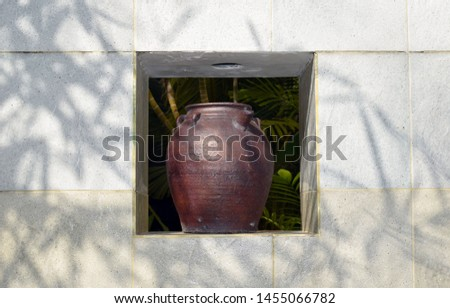 Close-up of an old large vase. Large jug. Design and interior of the hotel. #1455066782