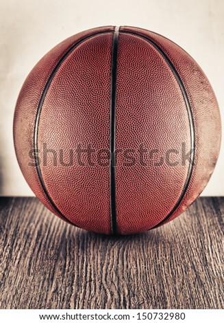Close up of an old leather basketball