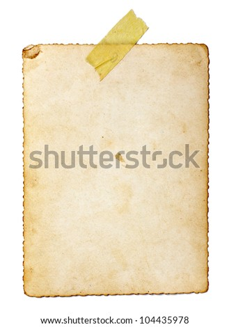 close up of an old photo on white background with clipping path
