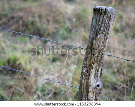Close up of an old style fence with barb wire surrounding a field. #1153296394