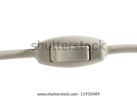 Close-up of an on/off switch with a cord (isolated on white)