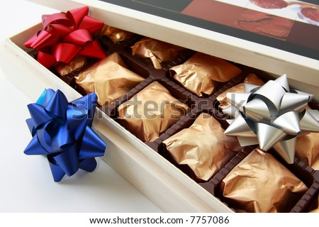Close-Up of an open box with delicious chocolate candies