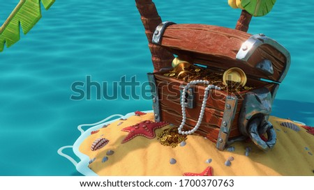 Close up of an open wooden treasure chest with gold coins, goblet, pearl beads standing under palm trees on the sand with seashells, starfish in the blue sea. Fantasy pirate wallpaper. 3d illustration Сток-фото ©