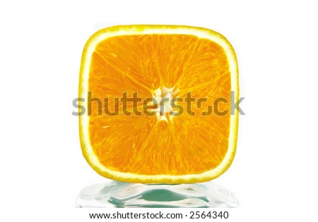 Close up of an orange. Super macro over white background - stock photo