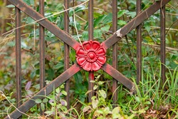 Close up of an overgrown iron gate with a red spraypainted flower shape attached