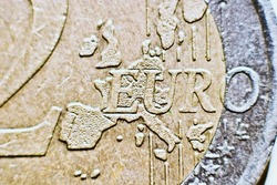 Close-up of an uncirculated euro cents coin