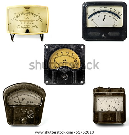 Close-up of an vintage ancient voltmeters big sizes are available too.