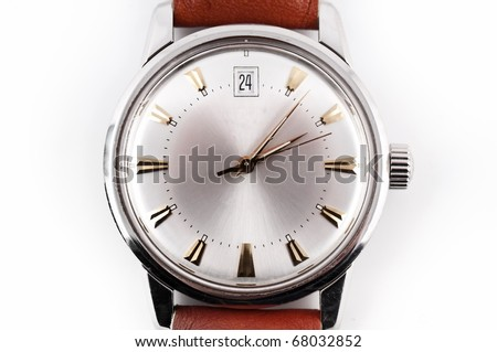 close-up of an vintage wristwatch, overexposed