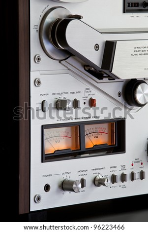 Close up of Analog Stereo Open Reel Tape Deck Recorder controls