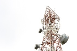 Close up of antenna tower on hill top include of  radio microwave and cellular 4G network ,isolated white background.Telecom tower,low angle view.