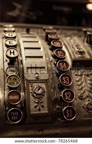 close up of antique cash...