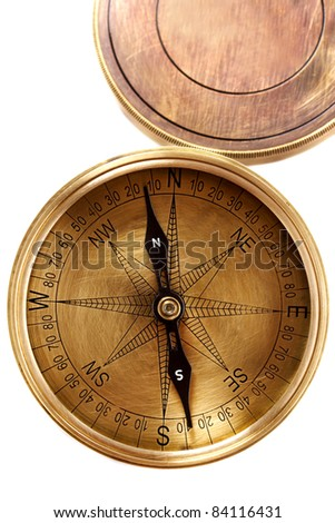 Close up of antique directional compass