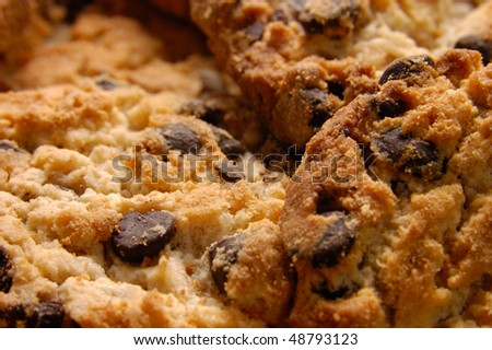 Close-up of appetizing chocolate chip cookies. Abstract food background