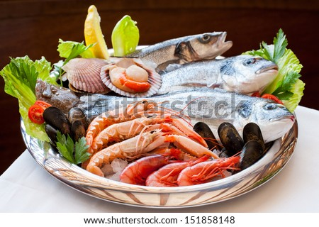 Close up of appetizing mediterranean seafood platter.