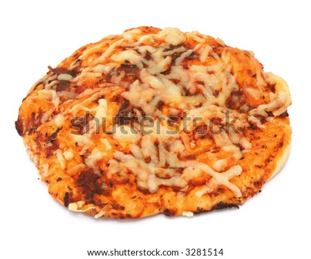 close-up of appetizing pizza isolated on white background