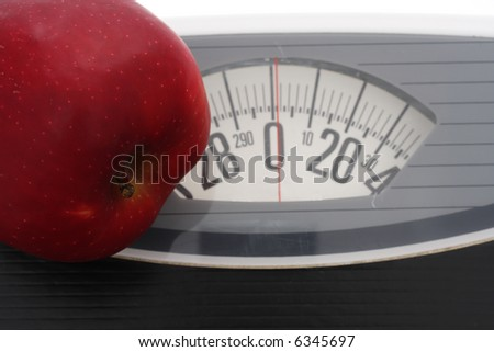 Close up of apple on scales
