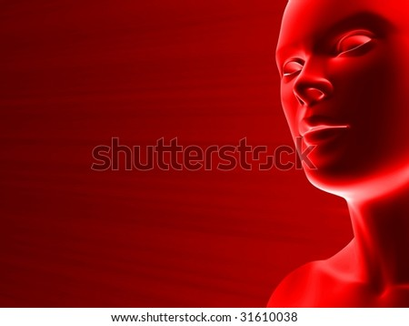 close up of artificial woman face in red