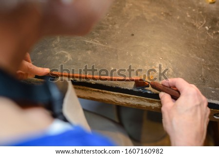 close up of artisan at work
