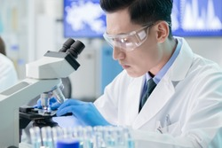close up of asian male scientist team use microscope in the laboratory