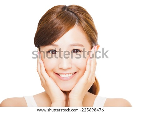 Close up of asian young woman's face with smile expression. happiness concept