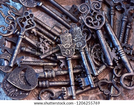 Close Up Of Assorted Antique Vintage Large Oriental Skeleton Keys On Display In An Antiques Street Market In Istanbul. #1206255769