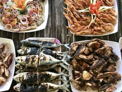 Close-up of assorted fish and veggie