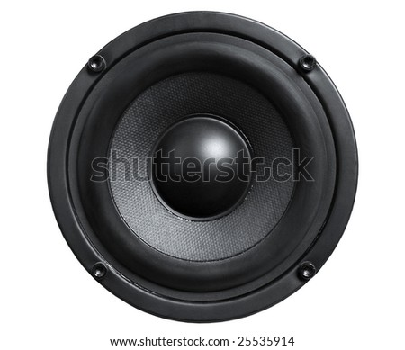 Close up of audio black loudspeaker isolated white