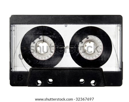 close up of audio tape cassette on white background with clipping path