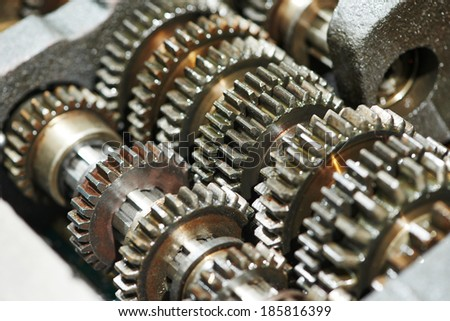 close-up of automobile engine or transmission steel gear box