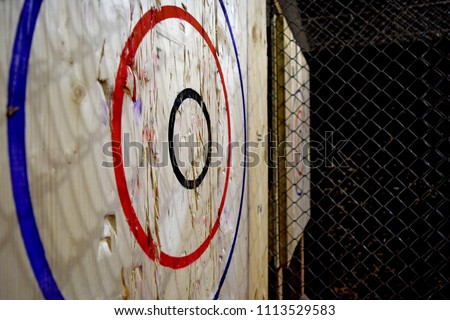 Close up of axe throwing target with room for content along right side.