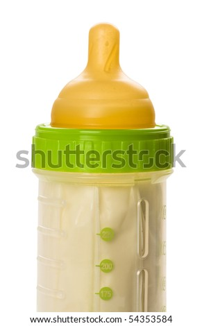 Close up of baby bottle isolated on white.