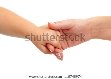 Close up of baby hand holding mothers hand. Isolated on white background.